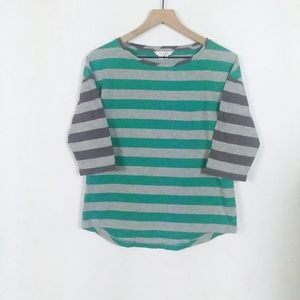 Boden striped 3/4 sleeve crew neck high low tee